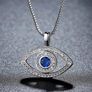 Luck Turkey Blue Evil Eye Rhinestone Choker Necklace For Women Fashion Charm Exaggerated Shape Wholesale Jewelry Pendant Necklaces
