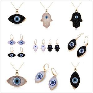 Simple Evil Eye Druzy Drusy Pendant Earrings Necklace Women Resin Imitation Natural Stone Necklace earrings for women jewelry