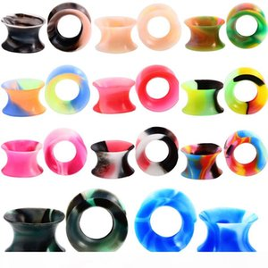 11Pair Silicone Flexible Thin Double Flared Flesh Tunnel Ear Plugs Ear Gauge Expander Stretcher Earlets Earrings Ear Piercing