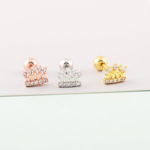 Korean Version 18k Gold Earrings Sweet Princess Micro Inlaid Diamond Corolla Small Ear Thin Rod Cochlear Bone Nail