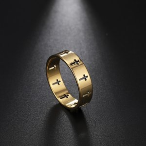 Stainless Steel Couple Rings Women Men Hollow Cross Personality Punk Finger Ring Engagement Wedding Party Jewelry Gift