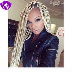#613 blonde Synthetic Lace Front Braid Wigs Pure Color simulation human hair Wigs 30 Inch With Baby Hair Braided Wigs For Black Women