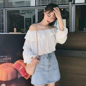 Ms Shirt Top Student Xianqi Chaoxian One Line Collar Sweet Trumpet Sleeve Small Fresh White Off Shoulder Chiffon Girl