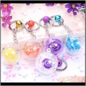 Творческий Металлический колокол Вечный Цветок Розовые Бутылки Сплав Женщин Кольцо Подвеска Li5cf Брелки VP0od