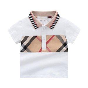 Baby Boys Girls Plaid T-shirts Summer Kids Short Sleeve Tshirt Turn-Down Collar Children Cotton Shirt Child Tops Tees 1-7 Years