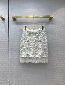 2021 Spring Autumn Winter Blue  White Tassel Panelled Designer A Skirts Fashion Brand Same Style 0820-21