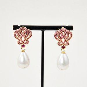 GuaiGuai Jewelry Teardrop White Sea Shell Pearl Gold Plated Fuchsia Cz Drop Earrings Real Gems Stone Lady Fashion Jewellry