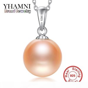 YHAMNI Luxury Original Flawless Pink Pearl Pendant Necklace Jewelry for Women Real Solid 925 Silver Wedding Statement Necklace XF002