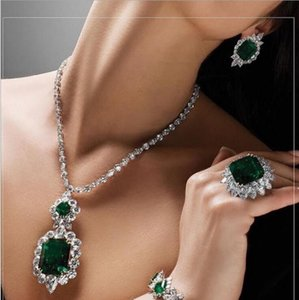 Choucong Brand New Unique Luxury Bridal Jewelry Set 18K White Gold Fill Emerald Gemstones Wedding Party Stud Earring Tennies Necklace Gift