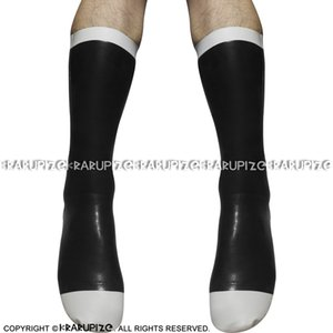 Black And White Sexy Short Rubber Latex Socks With Trims 0061