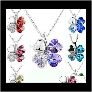 Necklaces Wholesale Austrian Crystal Clover Necklace Female Short Pendant Chain Closure 69Qq2 T8Exq