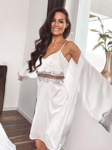 Women's Sleepwear Robe Pajamas With Nightdress Sexy Lace Patchwork Robes Women Pajama Sets Nightwear Bathrobe Female Loungewear