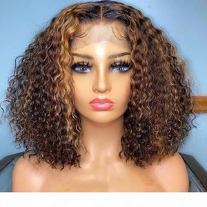 360 Lace Frontal Highlight Curly Blonde Human Hair Lace Front Wigs for Women Glueless Full Loose Deep Wave Wigs