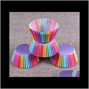 Cupcake Pvc Bucket Rainbow Baking Muffin Cake Chocolate Cup Glutinous Rice Paper Tray Packaging 100 Pcs Set Ukkru Mvczw