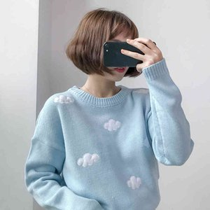 Women's Gagarich Winter Sweaters Korean Clothes Sweet Clouds Pullovers Plus Size Women Sweater Kawaii Tops