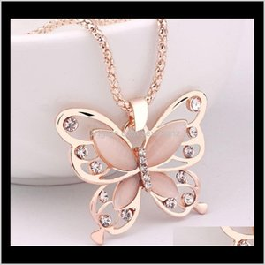 Necklaces & Pendants Jewelry Drop Delivery 2021 Korean 18K Rose Gold Plated Sweater Lucky Crystal Butterfly Long Chain Animal Pendant Necklac