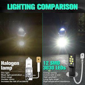 Car Headlights 2 Pcs H3 High Quality 12 Smd 3030 360 Degrees Led Fog Auto Foglamps Light Lamp 6000k Anti Bulbs White Front Drivin E1s3