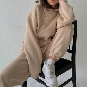 Tracksuits Women's Hoodie Pants Set Oversized Long Sleeve Sportwear Tracksuit 2021 Spring Autumn Suits On Fleece For Women Two Piece