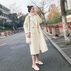 Women's Wool & Blends 2021 Vintage Female Overcoat Coats Womens Windbreakers Autumn Trench Long White Coat For Women