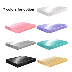 Solid Silk-like Polyester Fitted Sheet Soft Silky Smooth Mattress Pad Cover Elastic King Single Twin Full Queen