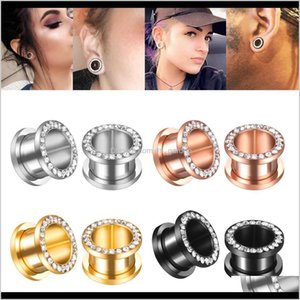 Plugs & Tunnels Body Drop Delivery 2021 Stainless Steel Crystal Flower Gauge And Fleash Ear Stretcher Tunnel Saddle Plug Jewelry Solck