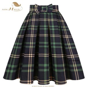Skirts SISHION Cotton Green Plaid Skirt With Pocket 50s Vintage Y2K High Waist Pleated Femme SS0012