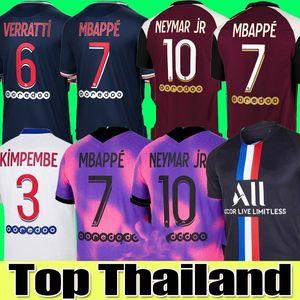 20 21 21 Thai Soccer Jersey Mbappe Verratti 2021 PSG Jersey Neymar di Maria Key Football Jersey Soccer Tops Uomini Camicia e set per bambini