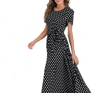 Womens Dresses Retro Basic Women Dress Short Sleeve O Neck Clothes Beach Polka Dot Printed High Waist Strap Bow Knot