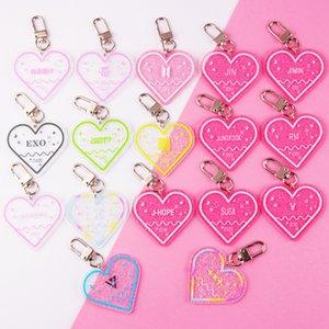 Ticket hotel heart shape clear acrylic keychain custom glitter