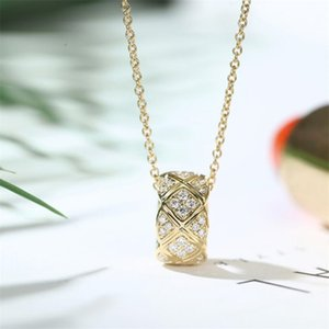 Choucong Brand New Circle Pendant Classical Jewelry 925 Sterling Silver&Gold Fill Pave White Sapphire CZ Diamond Women Clavicle Necklace