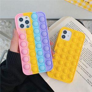 2021 Arrival Pop Fidget Bubble Silicone CellPhone Cases For iPhone 11 12 Pro Max 7 8 Plus X XR Relieve Stress