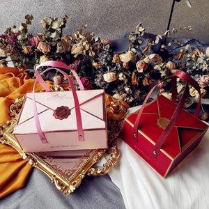 Avebien simplicidade envelope portátil caixa de presente embalagem bebê festa de aniversário decorações bolo caixa de papel de chocolate novo 210402
