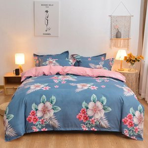2*2.3m 4pcs set Printed Solid Bedding Sets High Quality INS Pattern With Star Tree Flower Home Set