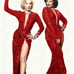 Marilyn Monroe Vintage Sparkly Wine Red Sequin Split Mermaid Evening Dresses Hot Fashion Sexy V-neck Full length Cheap Prom Gowns