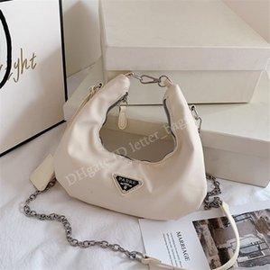 Designer 2021 Re-edição 2006 Classic Cruz Saco Senhoras Senhoras Handbags Plain não-tecido Nylon Correntes Zipper Meia Moon Bags Mulheres Moda Ombro Bolsa Totes