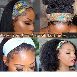 Wigleader Remy Human Hair Headbands Wigs 200% Density kinky curly Hair Wigs Bands Women on Sales