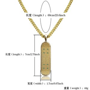 Skateboard Pendant Stainless Mens Gold Plated Pendant Steel Zircon Skateboard Copper 60cm Necklace Hop Jewelry Hip Inlaid Chain Bdnxl