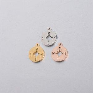 Semitree 5 stücke Edelstahl Kompass Charms Gold Halskette Anhänger Armband Fake für DIY Schmuck Erkenntnisse Handgemachte Lieferungen 1477 V2