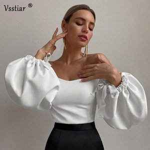 White Lantern Sleeve Elegant Blouse Women 2021 Fashion Bow Casual Party Ladies Shirts Solid Sexy Slash Neck Clothes Women's Blouses &