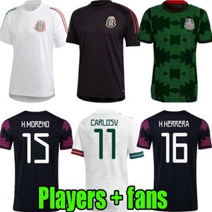 Giocatore fan Version 20 21 22 Mexico Black Training Suit Suit Soccer Jerseys H.lozano Dos Santos Chicharito 2021 2022 National Team Home Away Sport Football Uniform Shirts