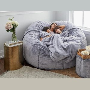 캠프 가구 콩 가방 의자 모피 모피 커버 기계 빨 수있는 큰 크기 소파와 거대한 안락 드롭