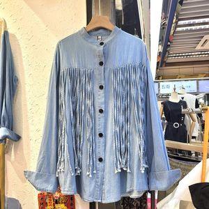 Women's Blouses & Shirts Loose Denim Shirt Women 2021 Autumn Punk Style Tassel Jeans Streetwear Long Sleeve Top Femme Tops