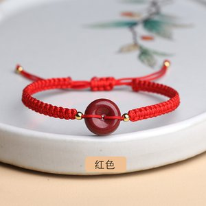 Beaded Strands Wholesale natural cinnabar bracelets hand-woven red string for men and women, natal safe transfer jewelry