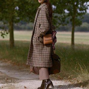 Women's Wool & Blends Women Sweater 2021 Autumn And Winter Doll Collar Puff Sleeve Tie Jacket Long Coat