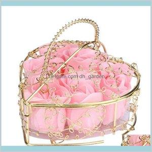 Flores decorativas grinaldas festivas festas fontes casa jardim dia dos namorados rosas chapeado cesta de ferro flor artificial sabão rosa casamento b
