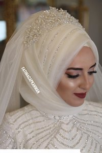 Ivory Muslim Bridal Veils 2018 Beading Pearls Tulle Wedding Hijab for Saudi Arabia Brides Custom Made Elbow Length Bridal Veils