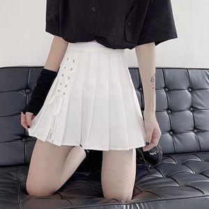 Skirts Zoki Dark Black Pleated Skirt Women High Waist White Casual Slim Solid Drawstring A-line Mini Street Fashion Summer