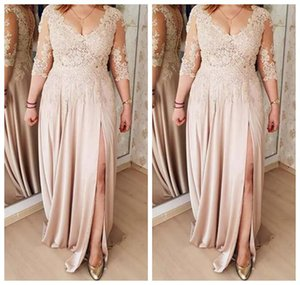 Plus Size Mother Of The Bride Dresses A line Champagne 3 4 Sleeves Chiffon Appliques Long Groom Mother Dresses For Weddings