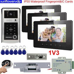 """Video Intercoms Door Phones IP55 Waterproof Fingerprint IC & Code Unlock Electronic Doorbell With Camera 7"""" Color Indoor Units + Electric Strike Lock for 3 Apartments"""