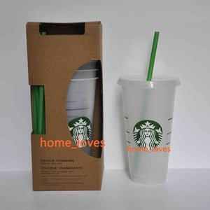 Factory0YJA 5pcs 24oz Tumblers With Drinking Juice Lip And Straw Magic Coffee Mug Costom Starbucks Plastic Transparent Cup